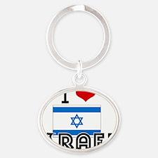 I HEART ISRAEL FLAG Oval Keychain