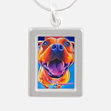 Pit Bull #18 Silver Portrait Necklace