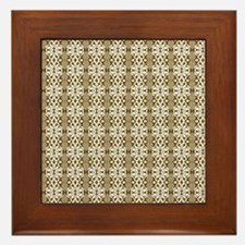 Dark Gold Damask Framed Tile