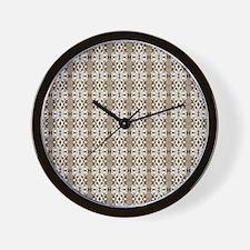Dark Gold Damask Wall Clock