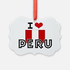 I HEART PERU FLAG Ornament