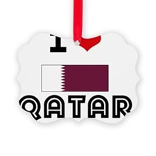 I HEART QATAR FLAG Ornament