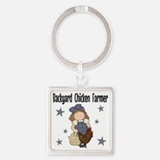 Backyard Chicken Farmer Square Keychain