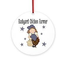 Backyard Chicken Farmer Round Ornament
