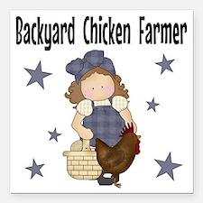 "Backyard Chicken Farmer Square Car Magnet 3"" x 3"""