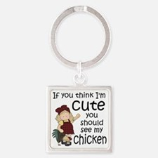 See My Chickens Square Keychain