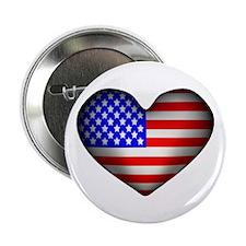 3D USA Flag Heart Button