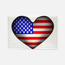 3D USA Flag Heart Rectangle Magnet