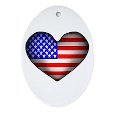 3D USA Flag Heart Oval Ornament