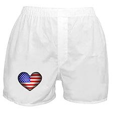 3D USA Flag Heart Boxer Shorts