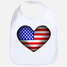 3D USA Flag Heart Bib