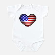 3D USA Flag Heart Infant Bodysuit