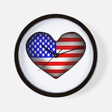 3D USA Flag Heart Wall Clock