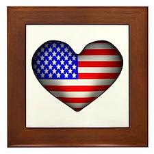 3D USA Flag Heart Framed Tile