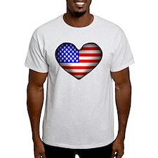 3D USA Flag Heart T-Shirt