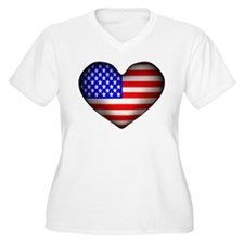 3D USA Flag Heart T-Shirt