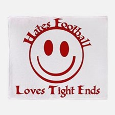 Hates Football Loves Tight Ends Throw Blanket