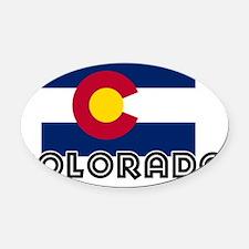 I HEART COLORADO FLAG Oval Car Magnet