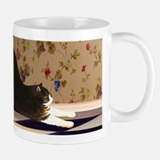 Tuxedo Cat Stretching Mug