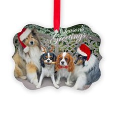 Cavalier and Sheltie Season Greet Picture Ornament