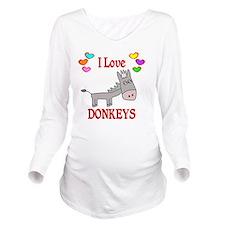 I Love Donkeys Long Sleeve Maternity T-Shirt