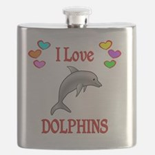 I Love Dolphins Flask