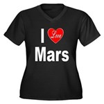 I Love Mars (Front) Women's Plus Size V-Neck Dark