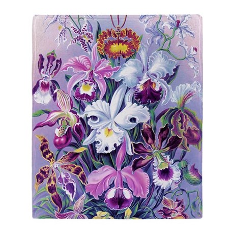 Cattleya, Lady Slipper Orchids 34 X Throw Blanket