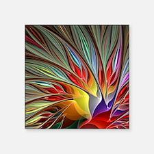 "Fractal Bird of Paradise fo Square Sticker 3"" x 3"""