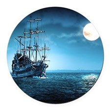 Pirate Ship Round Car Magnet