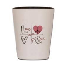 Love and Peace heart Shot Glass