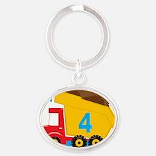 Dump Truck Im 4 Oval Keychain