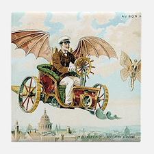 Vintage Art Flying Machine Dirigible  Tile Coaster
