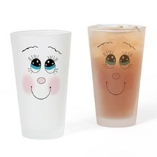 cute silly smiley girley face Drinking Glass
