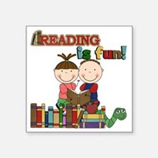 "Reading is Fun Square Sticker 3"" x 3"""