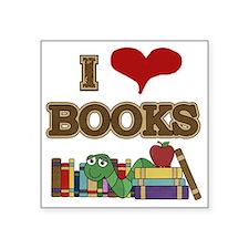 "I Love Books Square Sticker 3"" x 3"""