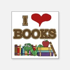"I Love Books Square Sticker 3"" x 3"""