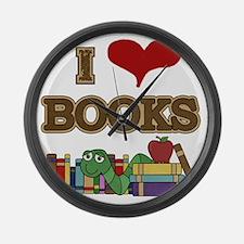 I Love Books Large Wall Clock