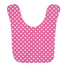 white polka dots on dark pink Bib