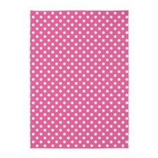 white polka dots on dark pink 5'x7'Area Rug