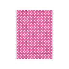 white polka dots on dark pink 5'x7'Area Rug