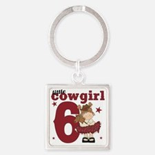 Little Cowgirl is 6 Square Keychain