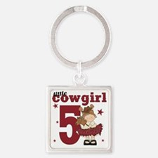 Little Cowgirl is 5 Square Keychain
