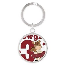 Little Cowgirl is 3 Round Keychain