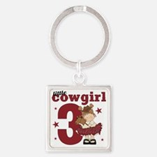 Little Cowgirl is 3 Square Keychain