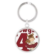 Little Cowgirl is 4 Round Keychain