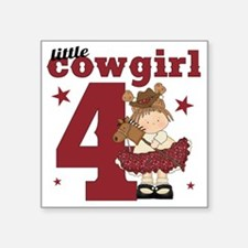 """Little Cowgirl is 4 Square Sticker 3"""" x 3"""""""