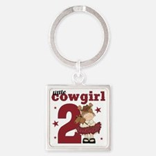 Little Cowgirl is 2 Square Keychain