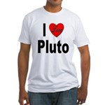 I Love Pluto (Front) Fitted T-Shirt