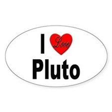 I Love Pluto Oval Decal